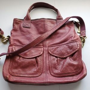 Fossil burgundy Leather crossbody bag